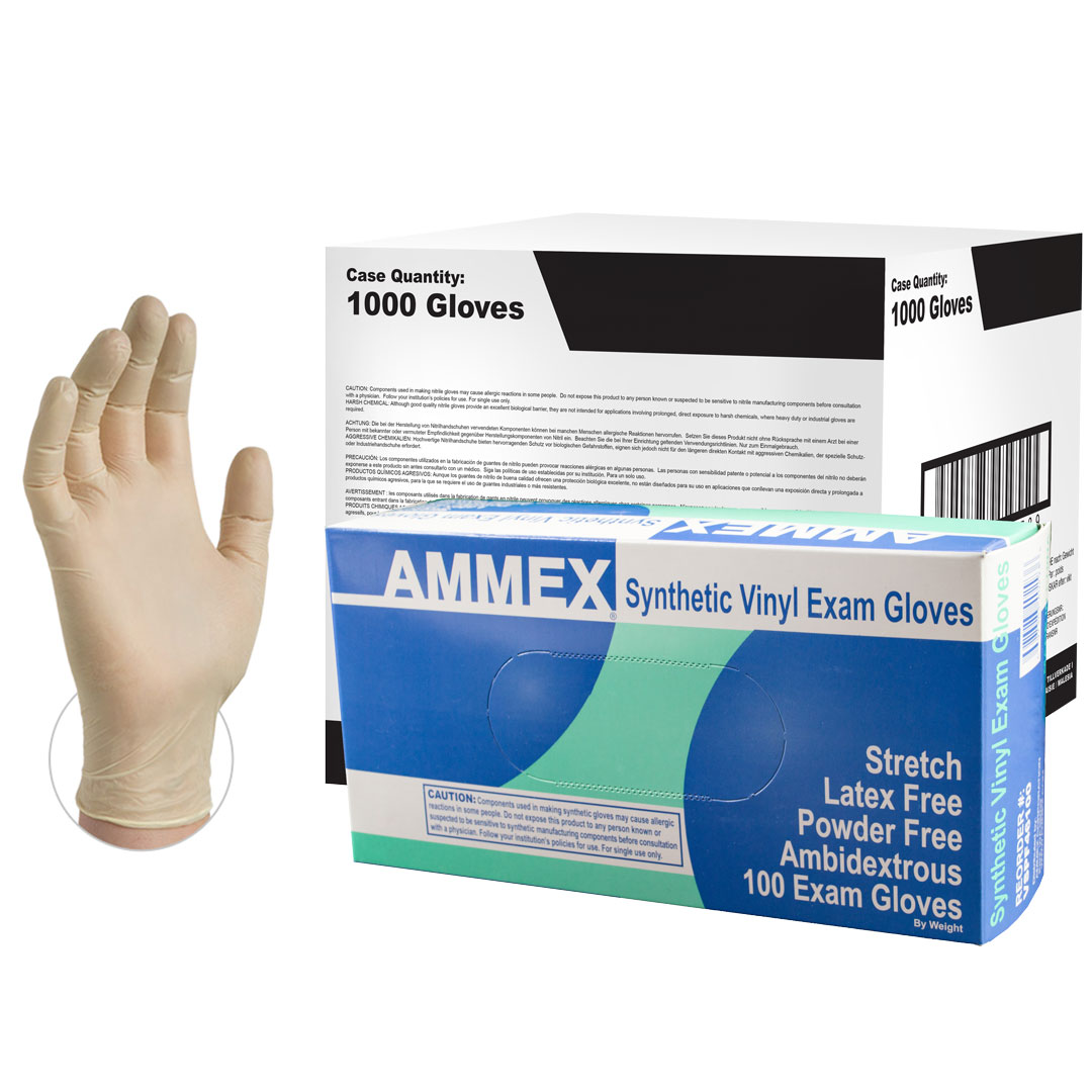 AMMEX Stretch Synthetic Vinyl Latex-Free Medical Gloves, Large, Ivory, 1000/Case