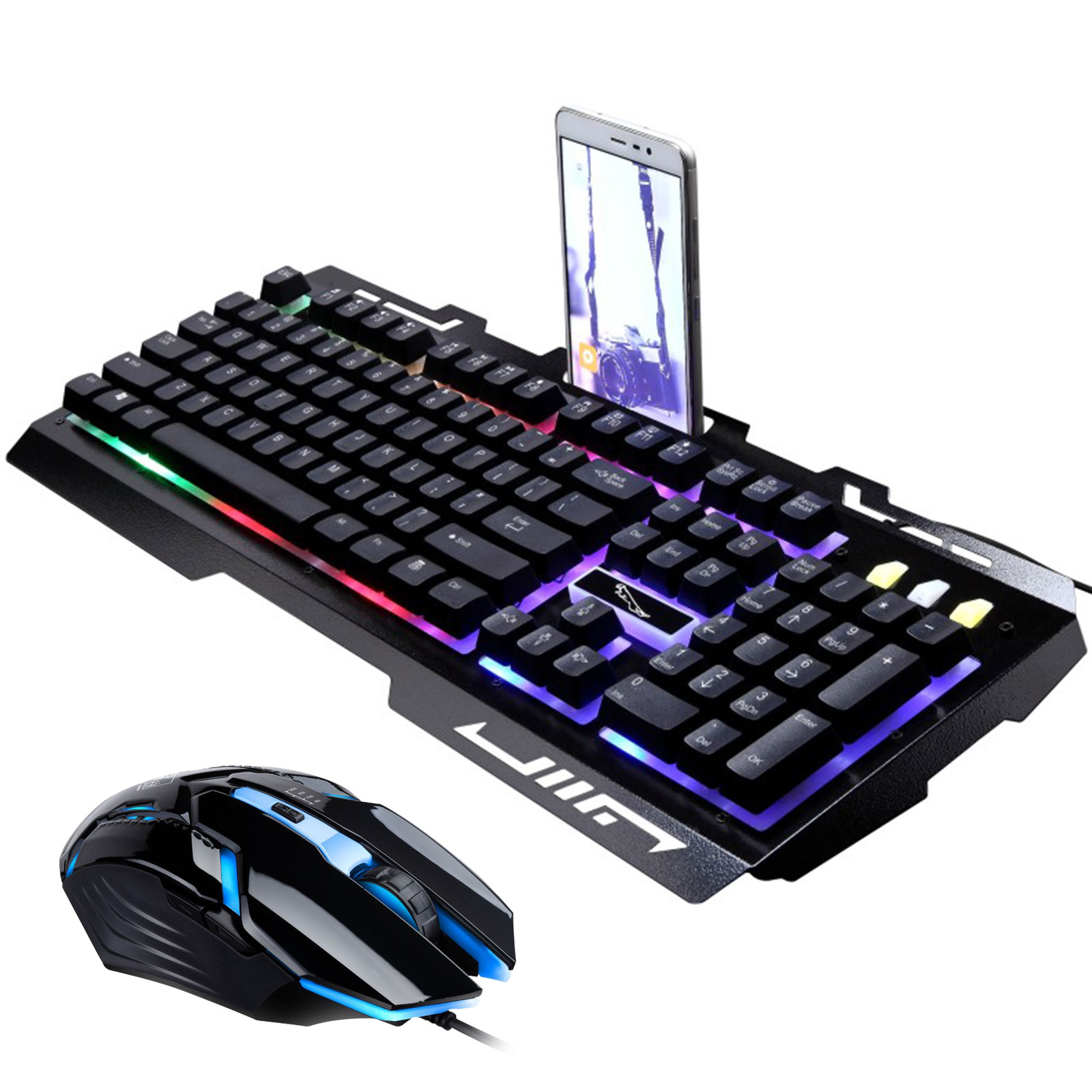 Keyboard Mouse Combo, TSV Gamer Wired Rainbow LED Backlit Metal Pro Gaming Keyboard and 2400DPI 6 Buttons Mouse for Laptop PC