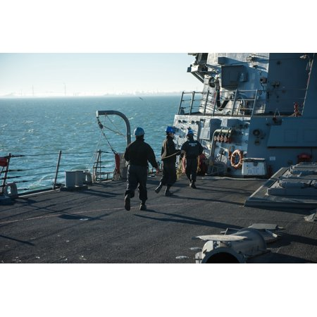 Laminated Poster Sailors Aboard Uss Donald Cook  Ddg 75  Participate In A Sea And Anchor Detail As The Ship Prepares Poster Print 24 X 36