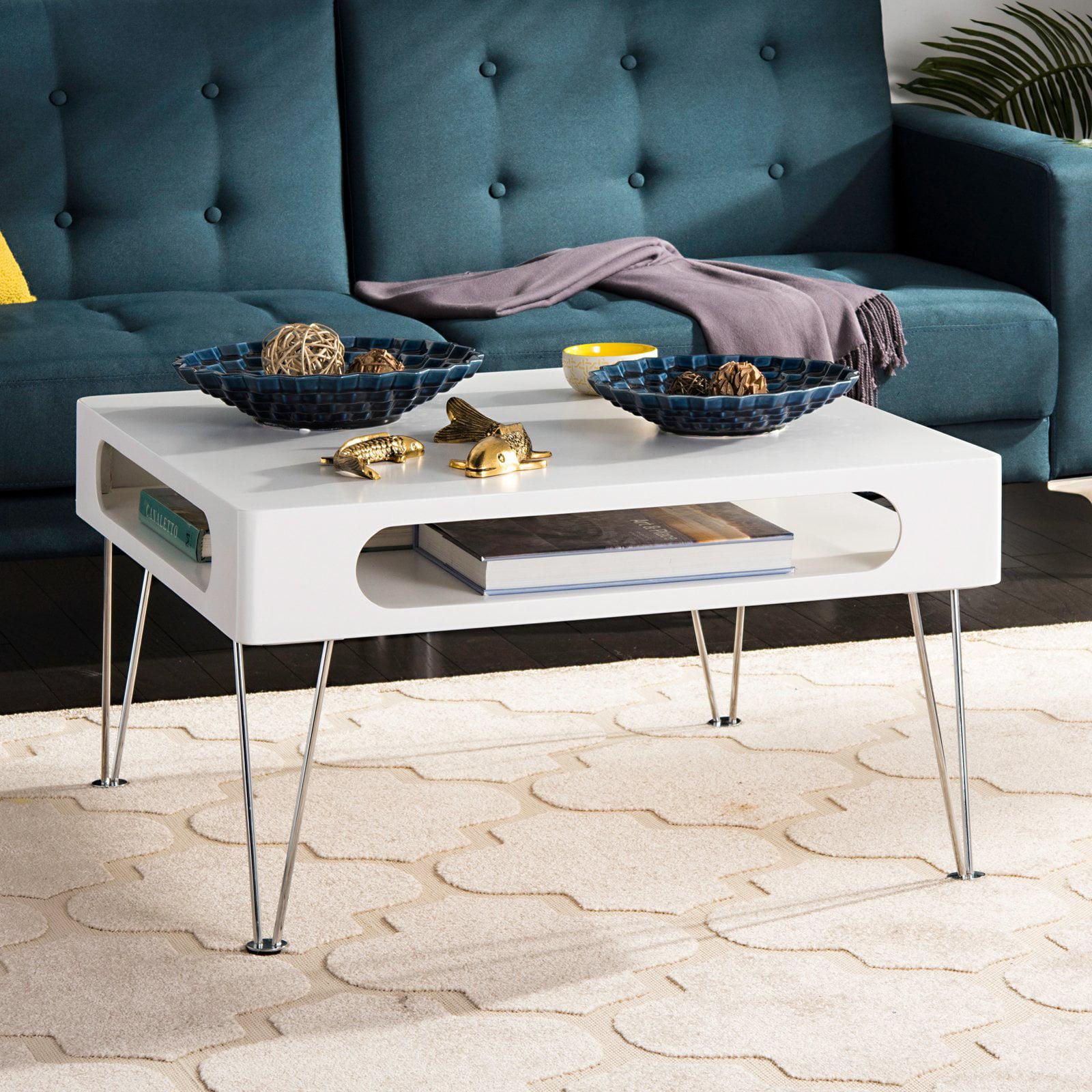 Safavieh Keaton Coffee Table, White with Chrome Legs