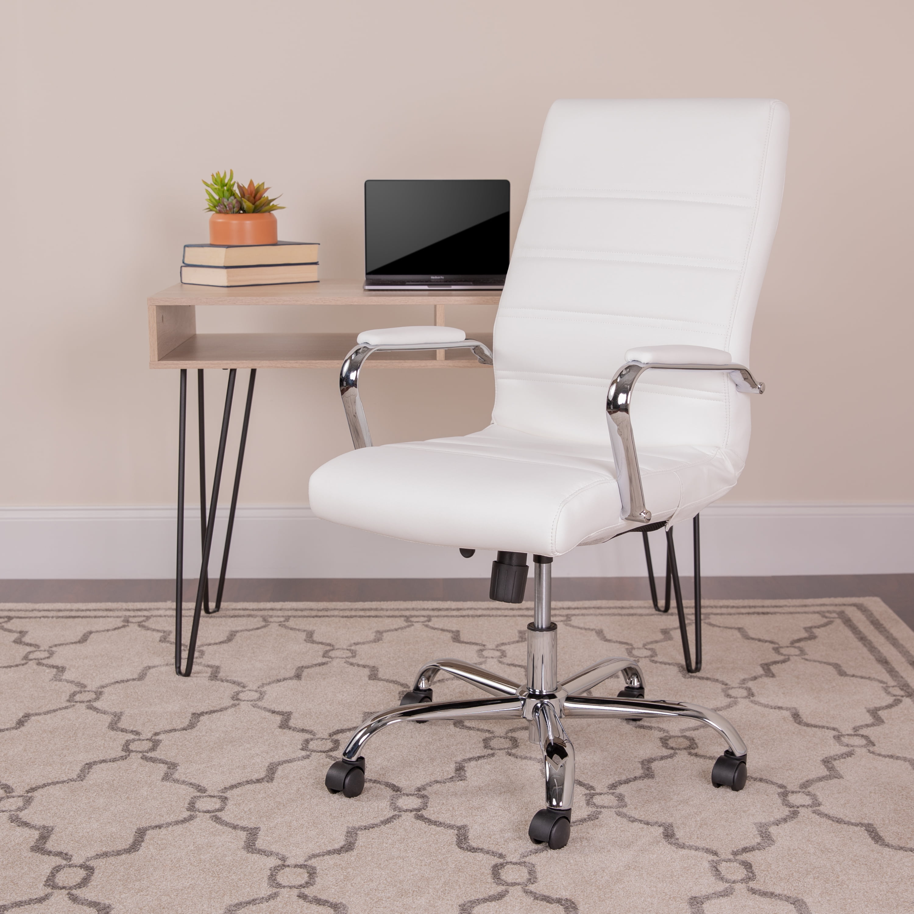 Picture of: Leathersoft Office Chair With Wheels And Arms White Walmart Com Walmart Com
