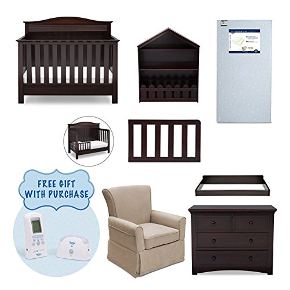Serta Barrett 7-Piece Nursery Furniture Set with FREE Digital Monitor (ships separately) (Convertible Crib,... by Delta Children