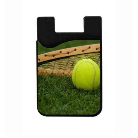 Tennis Ball And Racquet  - Stick On Adhesive Black Silicon Card Holder/ Pocket for Cell Phones