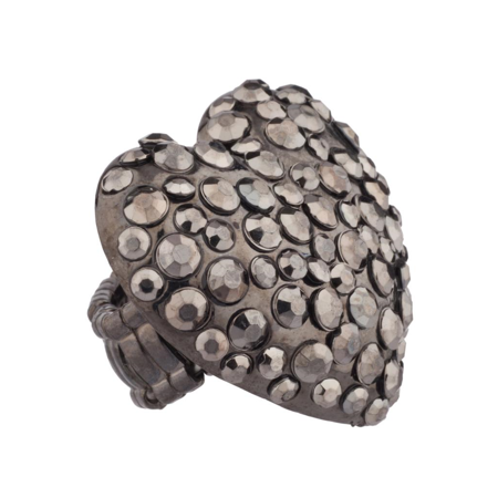 Gunmetal Heart - Lux Accessories Gunmetal Heart Stone Studded Stretch Ring