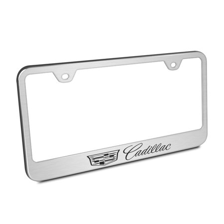 Cadillac Crest Logo Brushed Stainless Steel License Plate Frame
