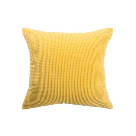"Cushion Cover Stripe Design Velvet Throw Pillow Case Shell for Sofa 18"" Yellow - image 1 de 7"