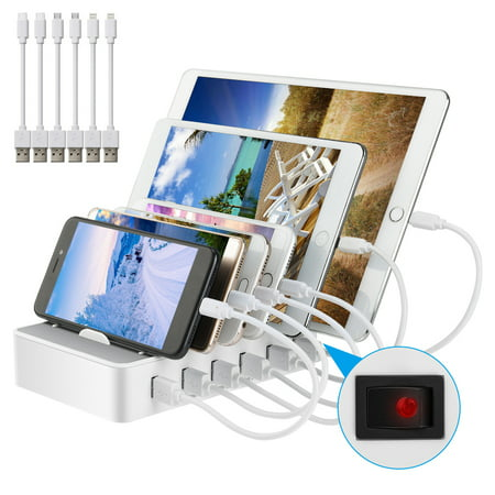 6-Port USB Charging Station with 6 Device Slots and Power Button, White Mobile Device Station