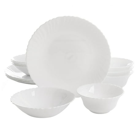 Gibson Home Radley 12-Piece Opal Tempered Glass Double Bowl Dinnerware Set in White