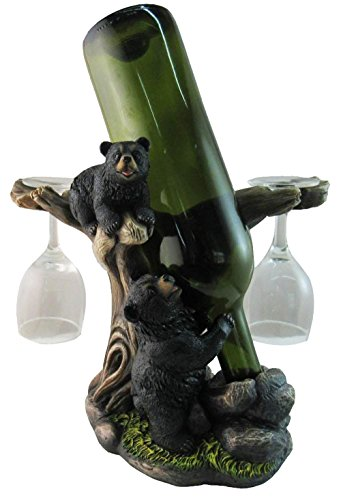 """10"""" Tall Climbing Black Bear Liquor Wine Glasses and Bottle Valet Holder Decorative Figurine by Gifts & Decor"""