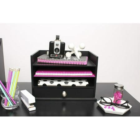 Uniek Francesca Decorative Wood Letter Tray Desktop Organizer - Decorate Desk