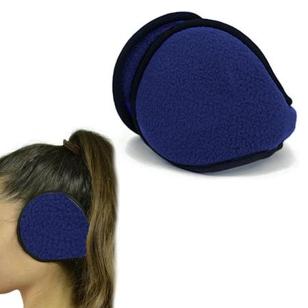 1 Blue Ear Muff Warmers Winter Basic Polar Fleece Earmuff Grip Wrap Soft Unisex