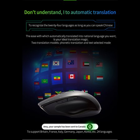 Wireless Mouse Game Mouse 1600DPI Support 24 Languages Hipo Voice Mouse  Typing Search Translation Computer Mice for Laptop PC Mouse Windows 7 8 10