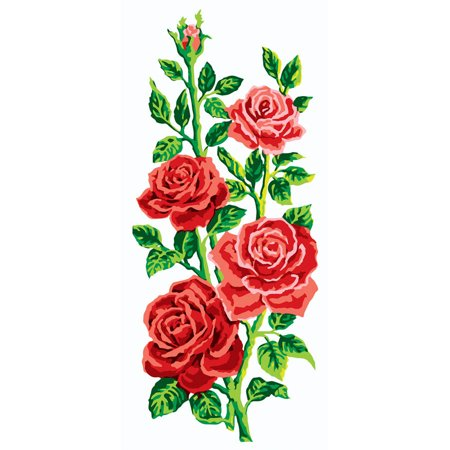 Collection D'Art Needlepoint Printed Tapestry Canvas, 60cm x 30cm, Red Roses