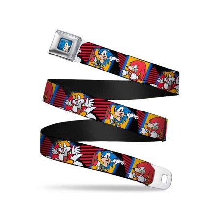 Sonic/Knuckles/Tails Posing Blocks/Triangles Black/Red/Blues/Orange Webbing - Seatbelt Belt Regular