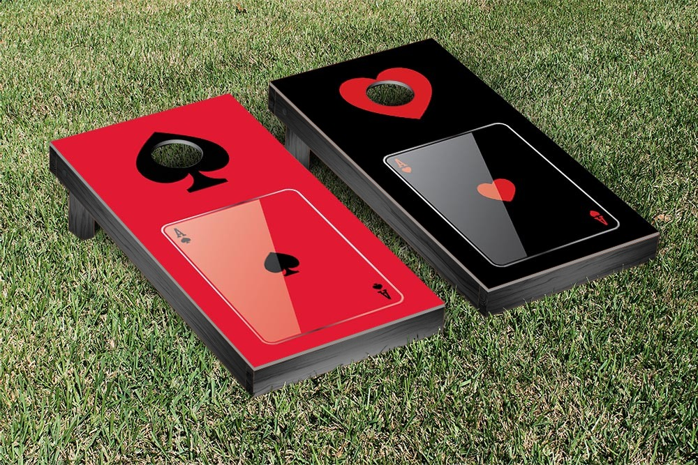 Ace Hearts & Spades Cornhole Game Set by Victory Tailgate