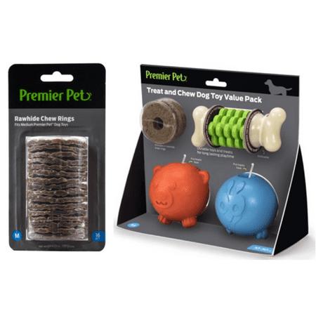 Rawhide Rings - Premier Pet Value Fun and Tbone and Rawhide Chew Ring Medium Bundle