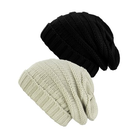 NYfashion101 Exclusive Oversized Baggy Slouchy Thick Winter Beanie Hat - 2 Pack, Black & Beige - Oversized Hats