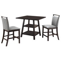 "Canal 5-Piece Counter Height Dining Set, 40"" Square, Transitional, (Cappuccino Table & 4 Clay Chairs)"