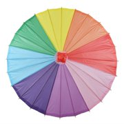 "Quasimoon 32"" Rainbow Multi-Color Paper Parasol Umbrella by PaperLanternStore"