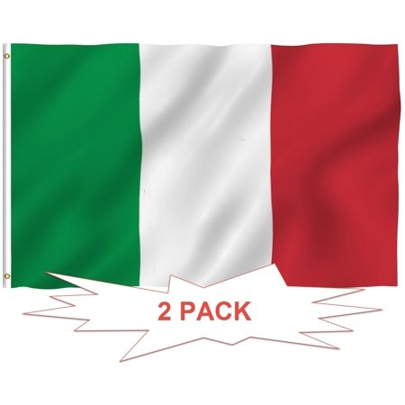 G128 - TWO PACK of Italy Flag Italian Flag Italian Republic Banner Italy National Country Flag 3x5ft Printed Quality Polyester with Brass Grommets Double Stitched (Italian Flag Outline)