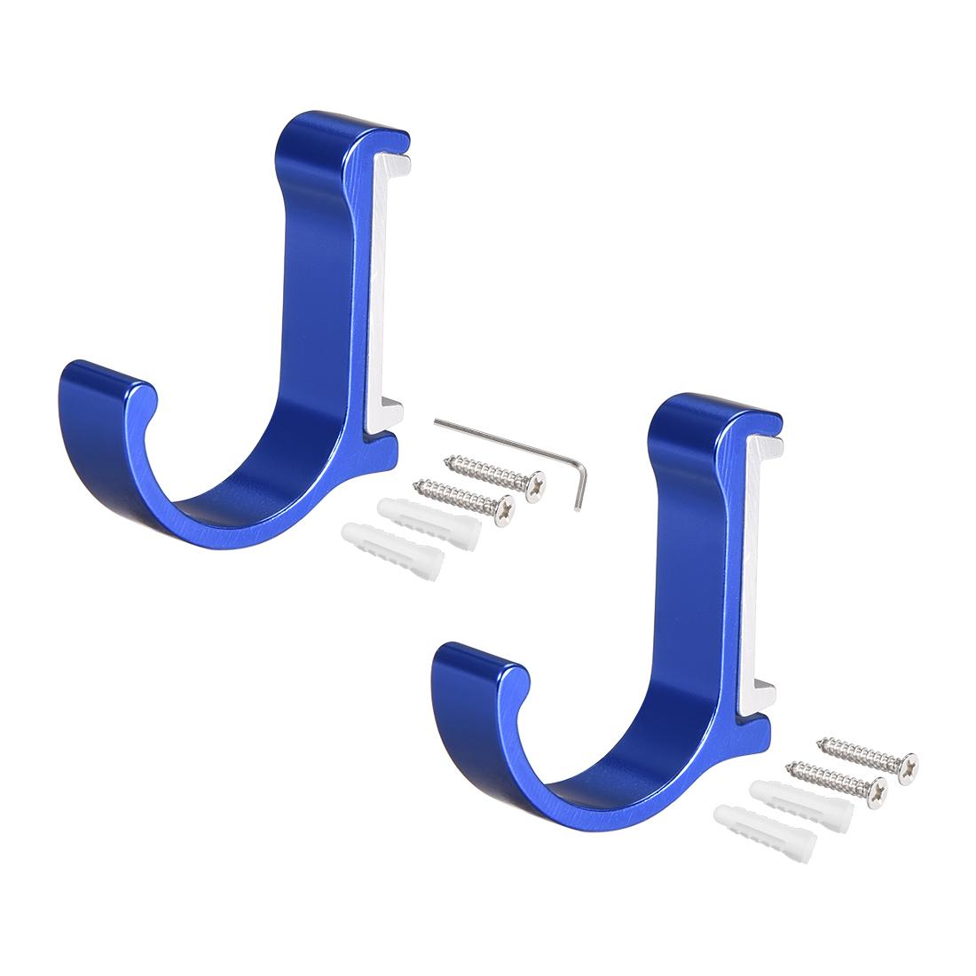 2Pcs Wall Mounted Hook Robe Hook Single Towel Hanger Aluminum alloy, blue - image 3 of 3