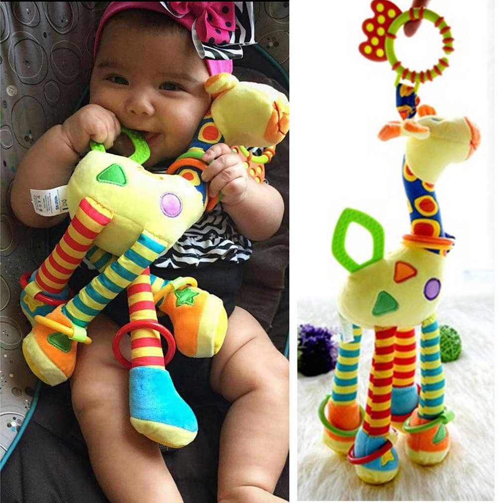 Infant Baby Development Soft Giraffe Animal Handbells Rattles Handle Toys