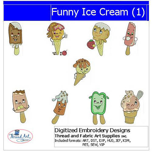 ThreadArt Machine Embroidery Designs Funny Ice Cream(1) CD