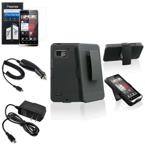 Insten Black Holster with Stand Case+2 Charger+LCD Film For Motorola Droid Bionic XT875