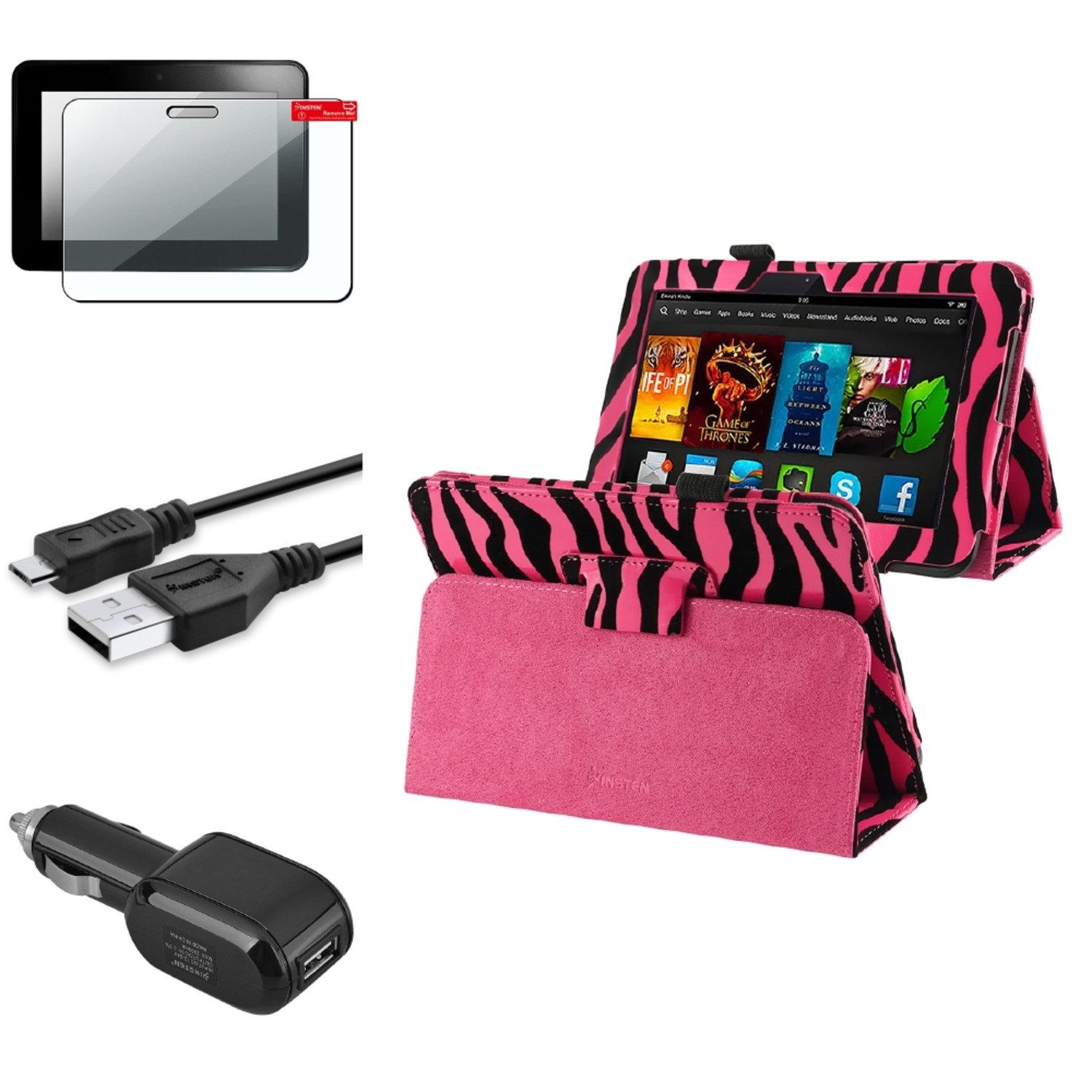 Insten Pink Zebra Leather Case Shield USB Car Charger For Kindle Fire HD 7 (designed for 2012 ver ONLY)(w/ Auto Wake)