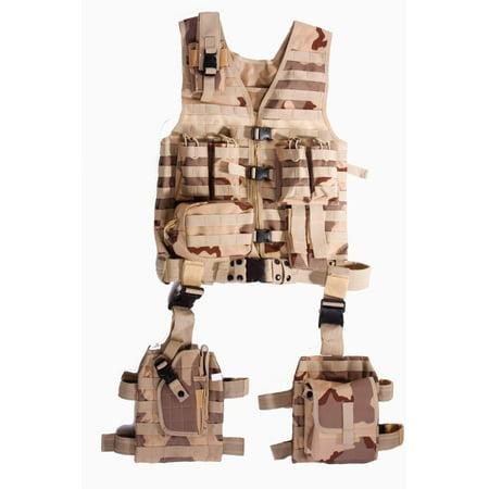 Ultimate Arms Gear Tactical Desert Tan Camo Camouflage Molle 10 Piece Complete Kit Set Modular Web Vest  Cell Phone Radio Pouch   Dropleg Pistol Ambi Holster   Multi Dump Drop Leg Platform Rig