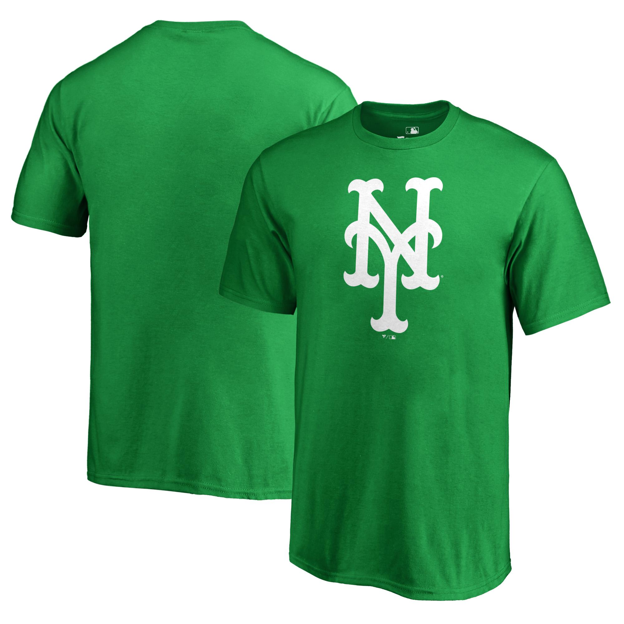 New York Mets Fanatics Branded Youth St. Patrick's Day White Logo T-Shirt - Kelly Green