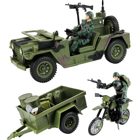 Click N' Play Military Logistics Transport unit 16 Piece Play Set With - Military Toys