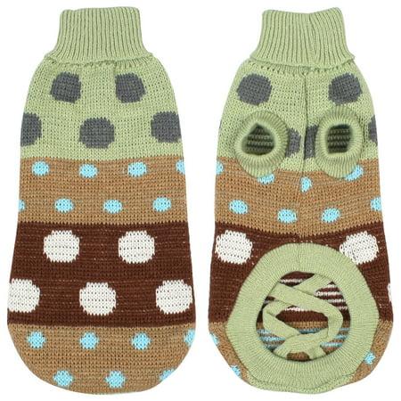 Unique Bargains Turtleneck Hand Knit Dog Sweater Pet Clothing Coat Pale Green Size