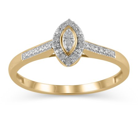 1/20 Carat T.W. JK-I2I3 diamond marquise promise ring in 10K Yellow Gold , Size 9