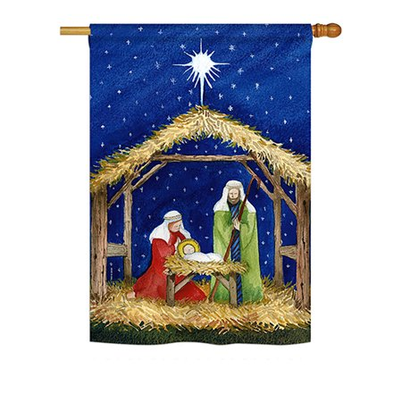 "Image of ""Breeze Decor - Nativity of Jesus Winter - Seasonal Nativity Impressions Decorative Vertical House Flag 28"""" x 40"""" Printed In USA"""