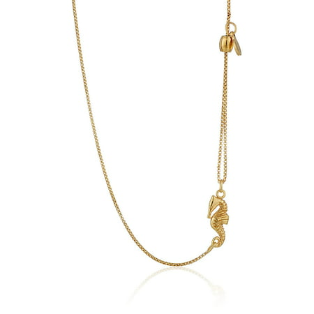 SEAHORSE Pull Chain Necklace 14K Gold Plated New With Card & Box