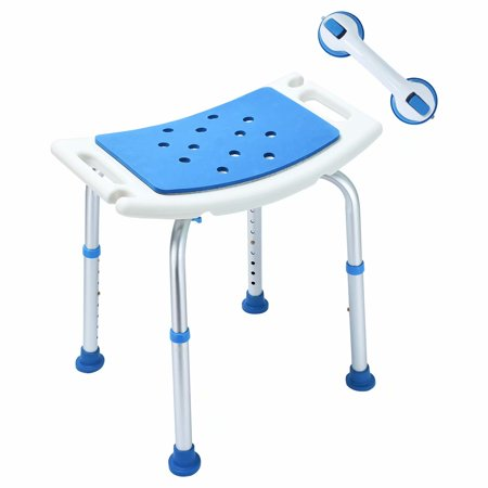 Latest Version! Upgraded EVA Paded Shower Stool Chair with Assist Grab Bar, Adjustable Stool Transfer Bench SPA Bathroom Bathtub Chair, White/Blue
