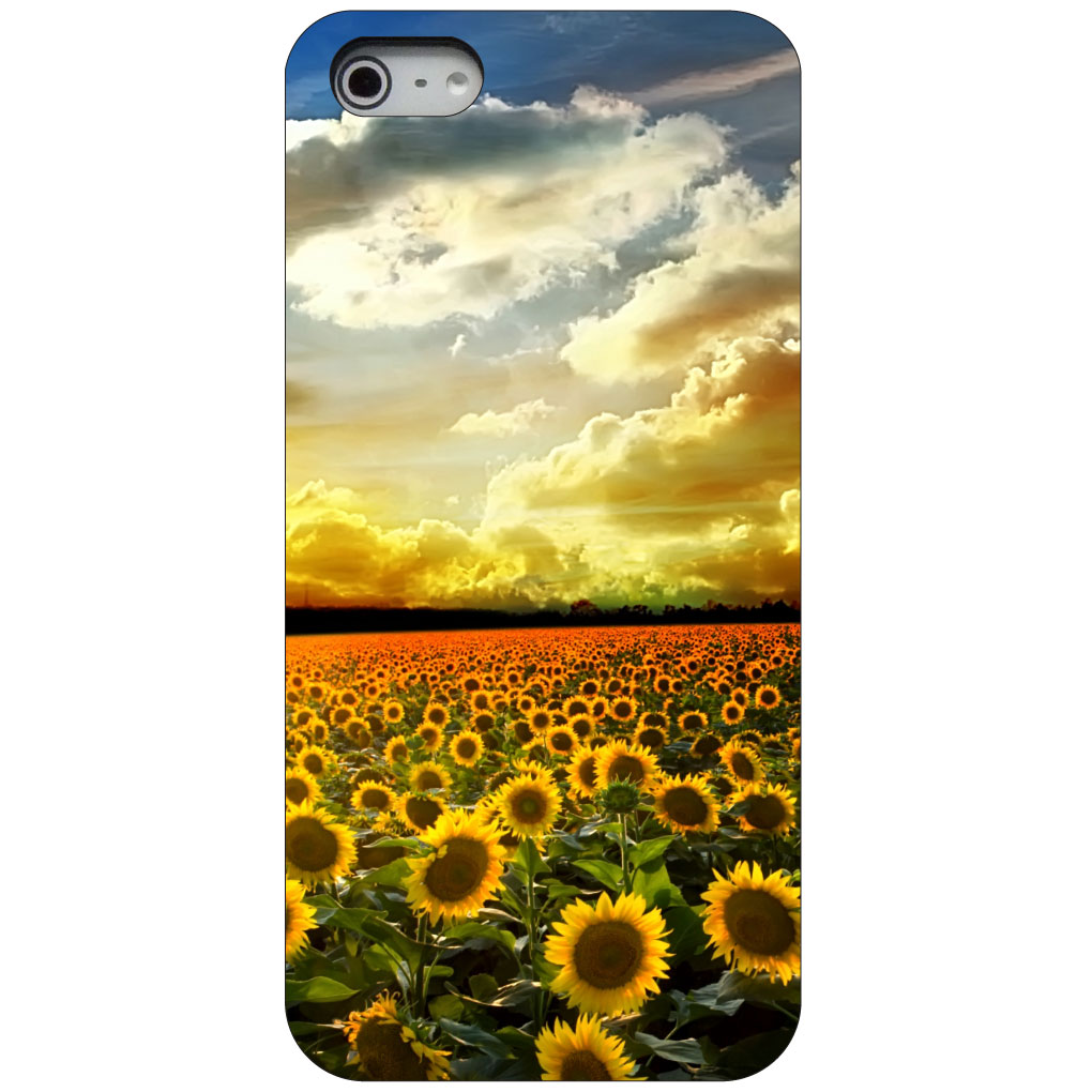 CUSTOM Black Hard Plastic Snap-On Case for Apple iPhone 5 / 5S / SE - Green Blue Yellow Sunflowers