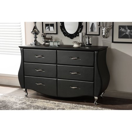 Baxton Studio Enzo Modern Faux Leather 6-Drawer (Leather Office Dresser)