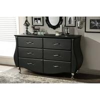 Baxton Studio Enzo Modern Faux Leather 6-Drawer Dresser