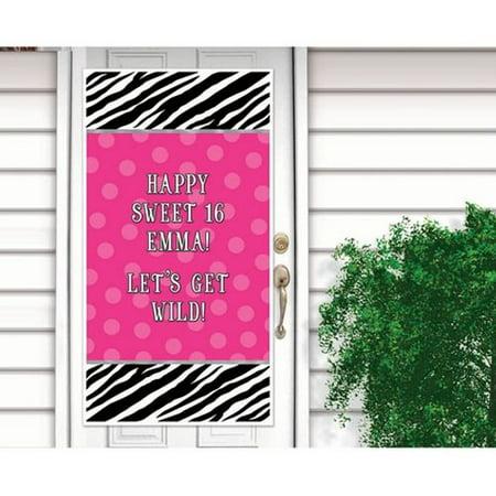 Zebra Stripes 'Pink and Black' Animal Print Giant Customizable Plastic Door Poster (1ct)