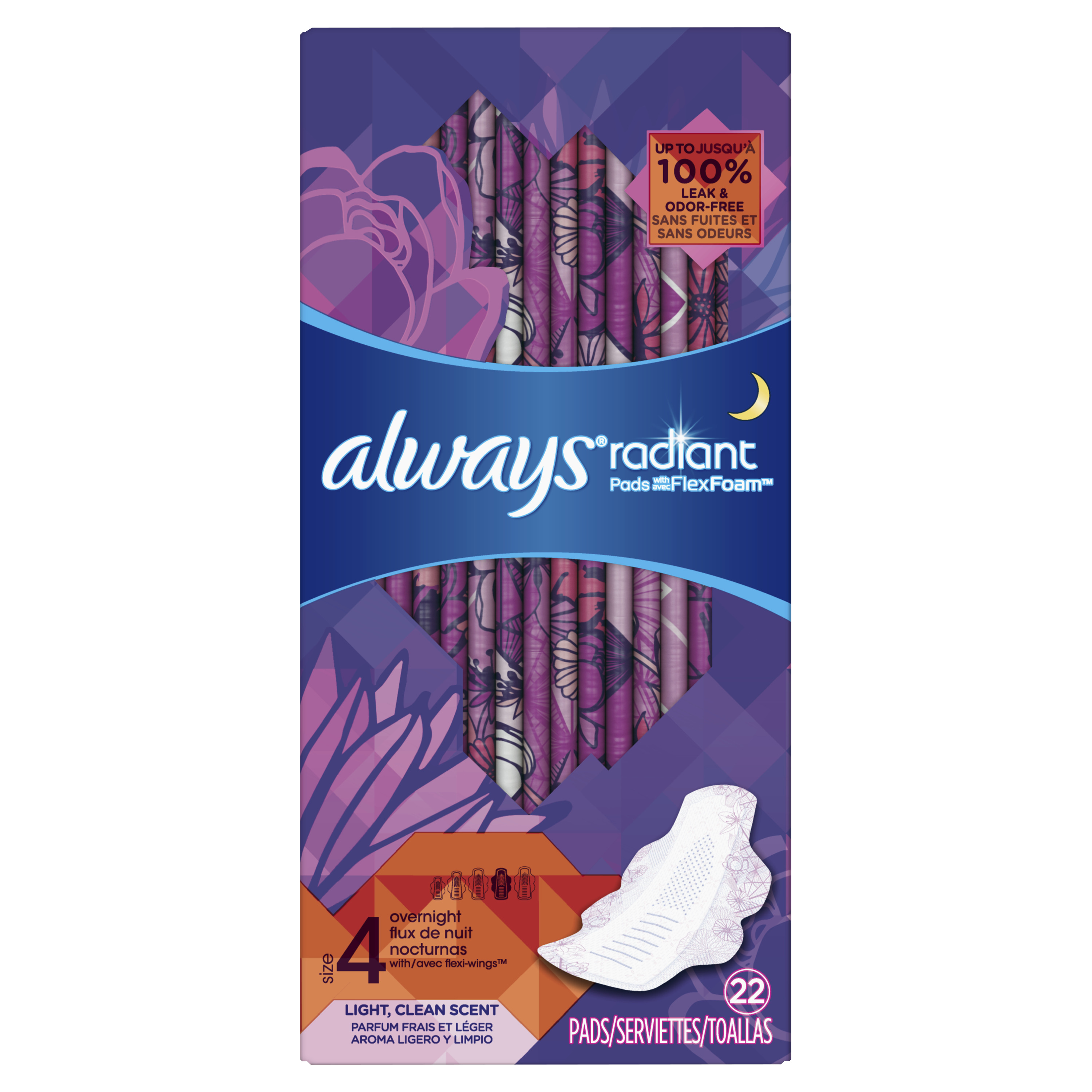 Always Radiant Overnight Pads, Size 4, Light Clean Scent, 22 Count