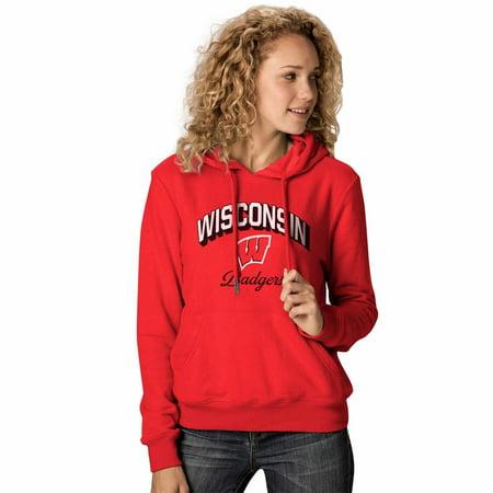 NCAA Womens Premium Campus Classic Goodie Hoodie - Multiple Teams (Womens Medium, Wisconsin Badgers - Red)