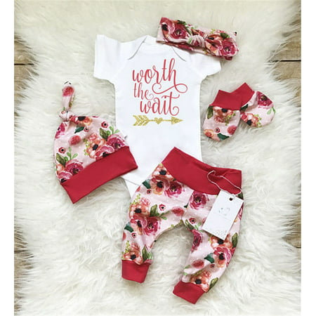 Newborn Baby Girls Worth the Wait Tops Romper Pants Floral Coming Home Outfits