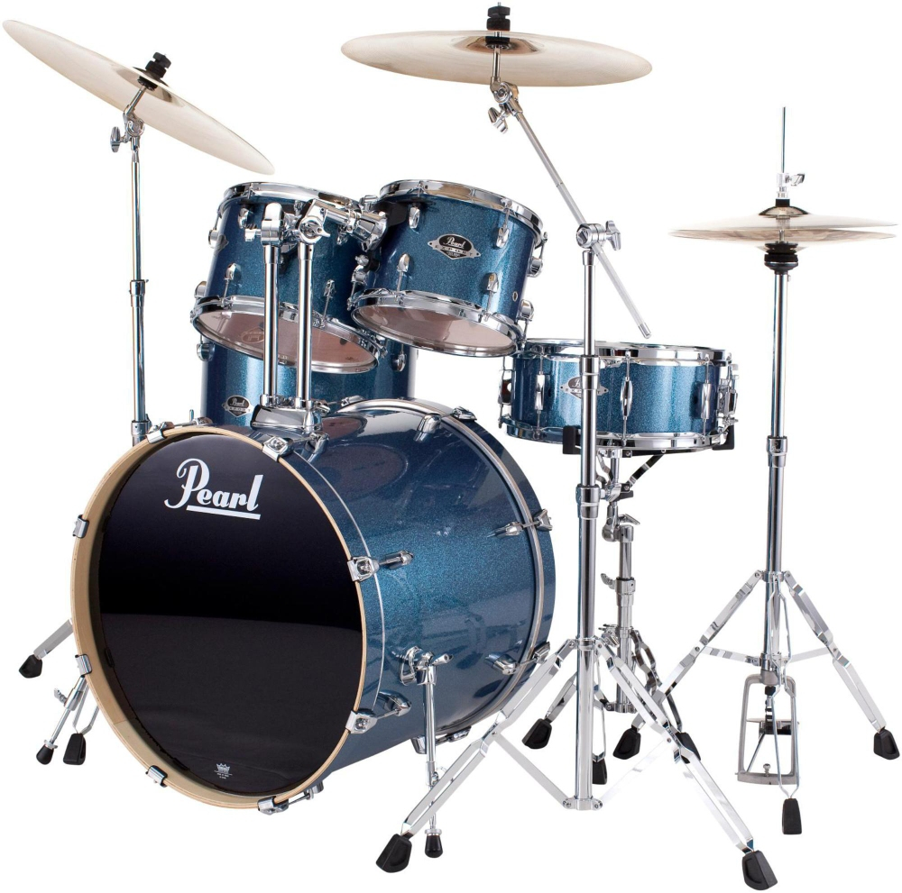 Pearl Export New Fusion 5-Piece Drum Set with Hardware Aqua Blue Glitter by Pearl