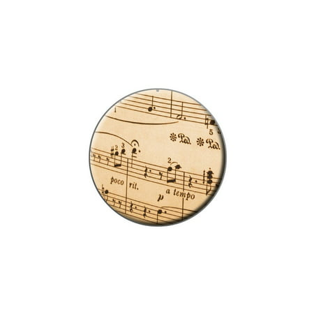 Music Musical Sheet Notes Vintage - Treble Clef Lapel Hat Pin Tie Tack Small Round