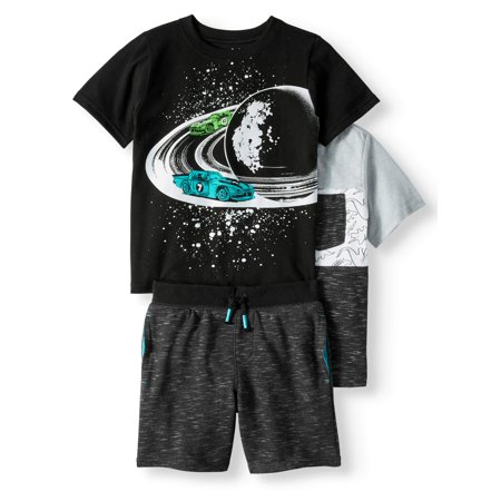 Toddler Boys' Graphic T-Shirt, Print T-Shirt and French Terry Shorts, 3-Piece Outfit - French Maids Outfit