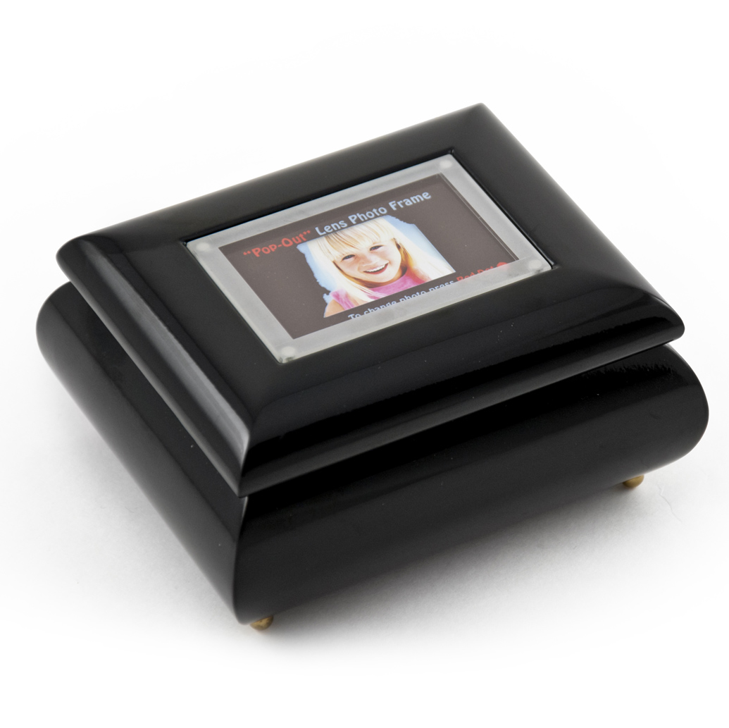 """3"""" X 2"""" Wallet Size Black Lacquer Picture Frame Music Box With New Pop-Out Lens System by MusicBoxAttic"""