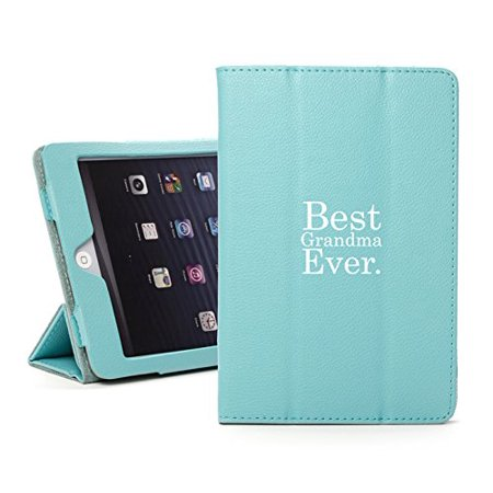 For Apple iPad Mini 1/2/3 Light Blue Faux Leather Magnetic Smart Case Cover Best Grandma Ever