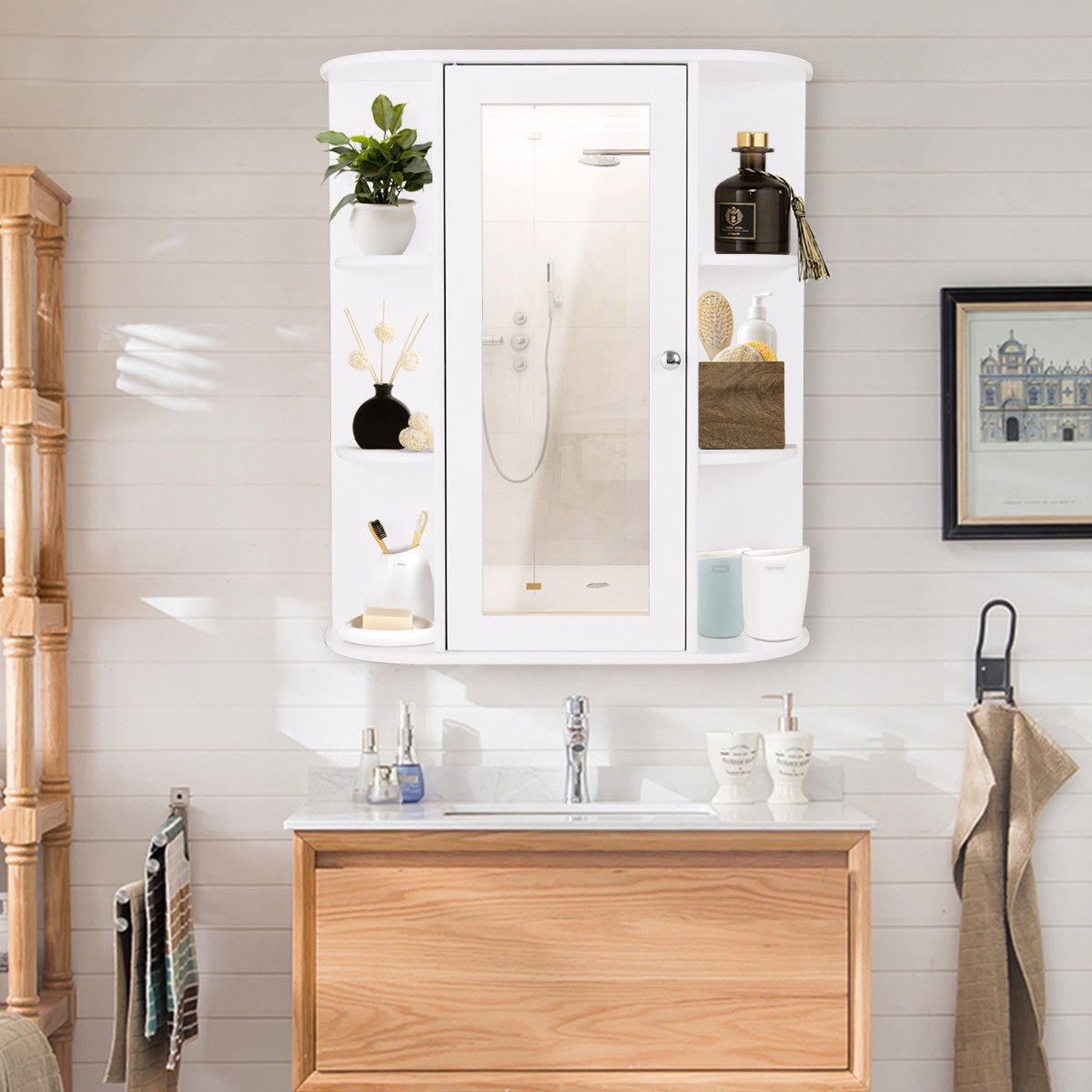 Gymax Bathroom Cabinet Single Door Shelves Wall Mount Cabinet W/ Mirror Organizer